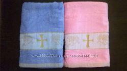 Крыжма-полотенце розовая голубая с золотой вышивкой