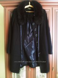 Шерстяное пальто с натуральным мехом дорогое, очень теплое оверсайз