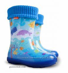 Детские Резиновые Сапоги Demar Exclusive Океан 20-35 размеры сапожки