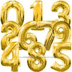 Шарик фольгированный золото 60см цифра 1-9, надувные оптом