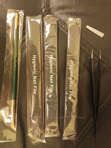 Наращивание ногтей, ресниц, кисть, пинцет, предметное стекло, палочки