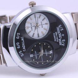 Стильные кварцевые часы Cadillac, 2 циферблата