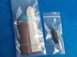 Кожаный ремешок для часов, натуральная кожа, коричневый, бабочка 22 мм