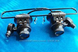Очки лупа 20X часовщика ювелира LED подсветка, для пайки, ремонта часов