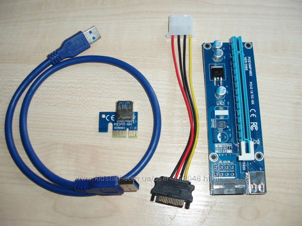 Райзер 1PCI-E 1x - 16x USB 3. 0 Data Cable SATA 15pin - IDE Molex 4pin