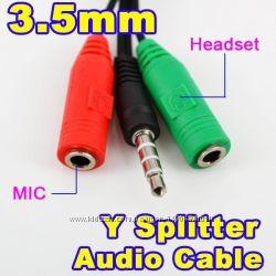 Переходник 3. 5 мм 4 pin папа - 23. 5 мм 3-pin мама наушники  микрофон п