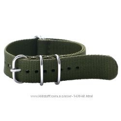 Military тканевый ремешок 20мм, 22мм оливковый зеленый для часов нейлон