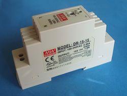 DR-15-15 источник питания на DIN-рейку, 15В, 15Вт, 1A блок питания Mean Wel
