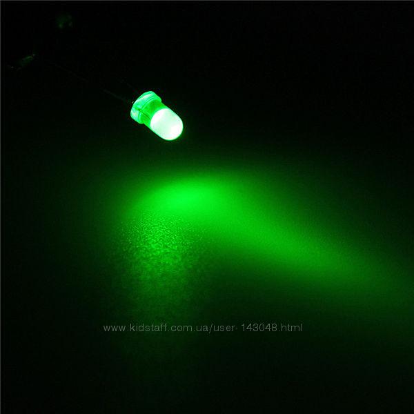 3мм зеленый LED светодиод 20mA