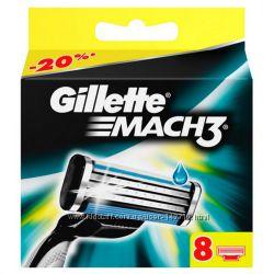 Gillette Mach3 8 шт, 4 штуки в упаковке сменные кассеты для бритья
