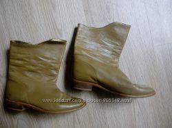 Кожаные ботинки кожа 38р. Оливковый цвет