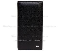 Черный стильный кожаный кошелек без защелки