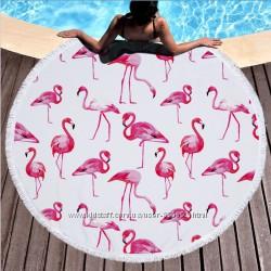 Круглое пляжное полотенце, пляжный коврик. Микрофибра 6 расцветок