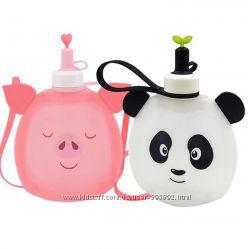 Детская силиконовая бутылочка для воды Джумони. Пятачок и Панда.