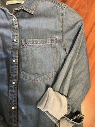 Джинсовая рубашка Zara girls очень стильная