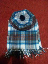 Шотладский берет и шарф, 100 шерсть