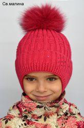 Зимняя шапка, внутри утепленная флисом, натуральный песец, 1-6 лет, цвета