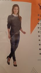 Стильный меланжевый свитер ажурная вязка м-л, Голландия YF trend