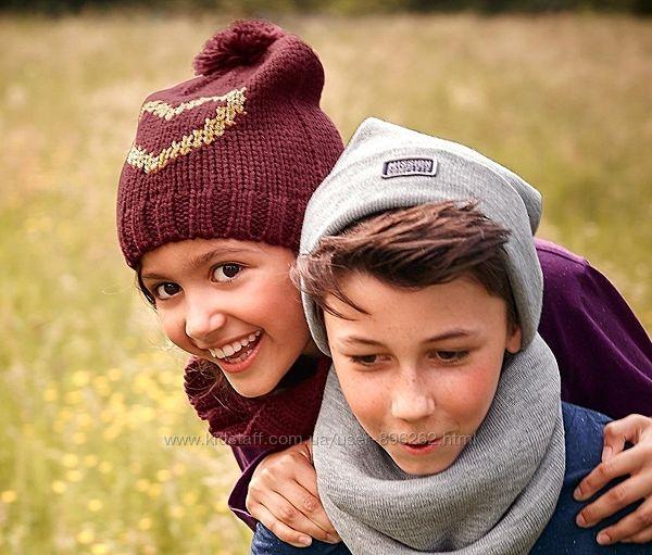 Яркий вязаный комплект для девочки шапкаснуд от тсм tchibo чибо, Германия