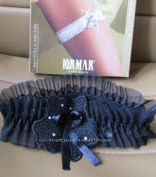 Подвязка на ногу  Lormar с стразами черная, размер М новая в коробочке