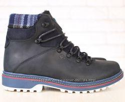 Зимние мужские ботинки Columbia натуральная кожа и мех черные