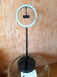 Кольцевая настольная/напольная лампа 26см высота до 168см