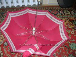 Зонт складной жен. полуавтомат красный с бел. полосой