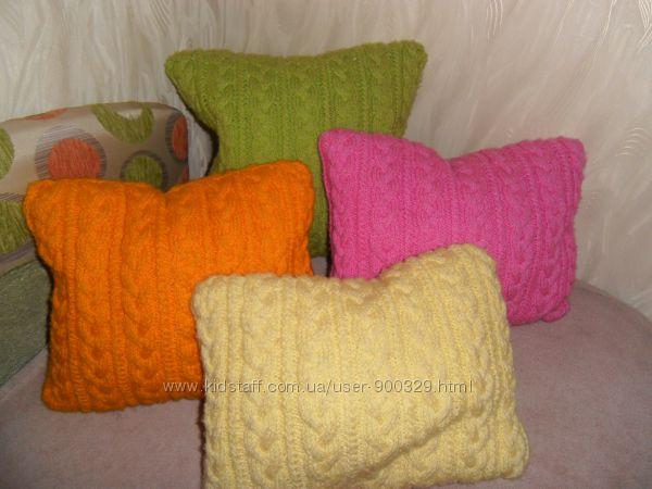 Подушки handmade разноцветные  вязаные