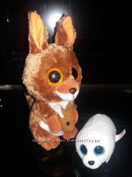 пакетом мягкие игрушки Ty глазастик оригинал 2 шт тюлень кенгуру