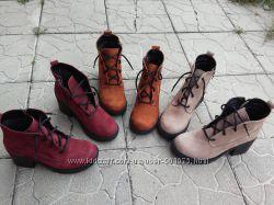 Стильные Ботинки Натуральный нубук.  Внутри байка.