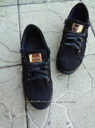 Макасины Кеды на шнурках, натуральный замш кожа