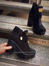 Зимние ботинки на платформе, натуральный замш