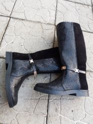 Зимние сапоги Moshcino, натуральная кожа, мех, шерсть