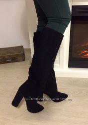 Демисезонные сапоги на устойчивом каблуке, натуральный замш
