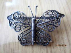 Винтаж бабочка серебро 925 филигрань ручная работа