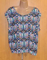 Яркая летняя хлопковая блуза в этно принт большой размер xxxl