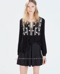 Чорная блуза блузка с вышивкой вышиванка 38m Zara trf