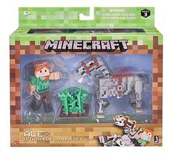 Алекс и скелетная лошадь Майнкрафт Minecraft Alex with Skeleton Horse Pack