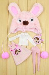 Розовый набор одежды Зайчик для куклы Блайз, Пуллип, Айси шапка, платье