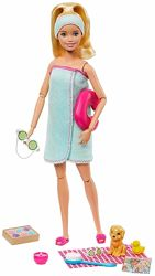 уценка Барби с 9-ю аксессуарами и щенком Barbie Spa Doll Blonde with Puppy