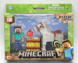 Стив и белый конь Майнкрафт Minecraft Steve with White Horse белая лошадь