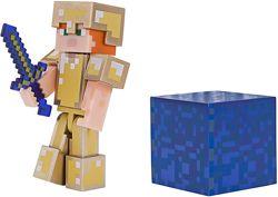 фигурка Алекс в золотой броне Minecraft Alex in Gold Armor Figure Pack ориг