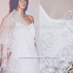 Фата свадебная машинная вышивка  вышиванка