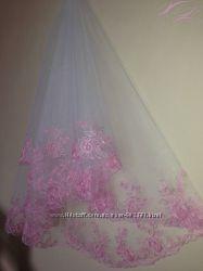 Фата свадебная, компьютерная машинная вышивка
