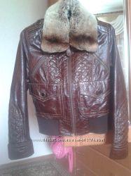 Куртка из натуральной кожи с мехом шиншилы