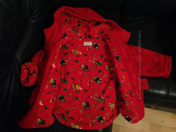 Пальто Оверсайз, красное на девочку-1. 5-3 года BENETTON шерсть