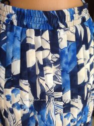 Юбка плиссированная длинная в синих оттенках и цветах. Германия