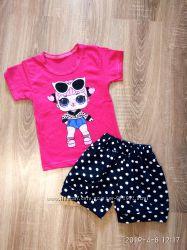Летний костюм футболка с шортами с куклой Лол 104-размер