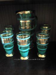 наб торжественный графин и 5 бокалов цветное стекло