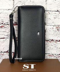 Кожаный клатч черный. Женский кошелек классика. Кожаное женское портмоне